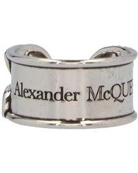 Alexander McQueen Logo Engraved Ring - Metallic