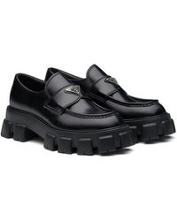 Prada Monolith Brushed Leather Loafers - Black