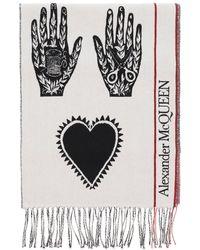 Alexander McQueen Mystic Selvedge Logo Scarf Os Wool,cashmere - Black