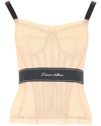 Dolce & Gabbana Tulle Bustier Top - Pink
