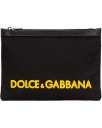 Dolce & Gabbana Logo Zipped Clutch Bag - Black