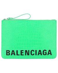 Balenciaga Cash Logo Print Pouch Bag - Green