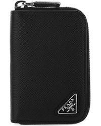 Prada Logo Patch Zipped Cardholder - Black