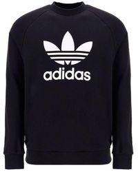 adidas Logo Printed Crewneck Sweatshirt - Black