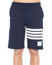 Thom Browne Four Bar Sweat Shorts - Blue