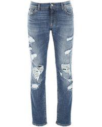 Dolce & Gabbana Distressed Slim-fit Jeans - Blue