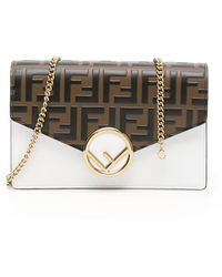 3b2fb8b44005 Fendi Continental Wallet With Chain - Lyst