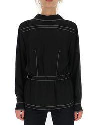 Marni Stitch Detail Peplum Blouse - Black