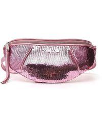 Miu Miu Paillettes Belt Bag - Pink