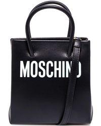 Moschino Black Logo Print Mini Shopper