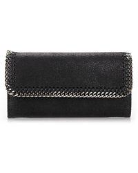 Stella McCartney Falabella Flap Continental Wallet - Black