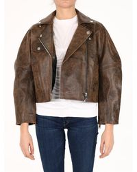 Ganni Washed Leather Jacket - Brown