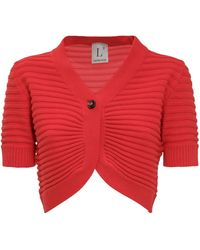 L'Autre Chose Ribbed Cropped Cardigan - Red