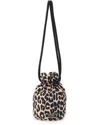 Ganni Mini Leopard Print Pouch Drawstring - Black