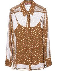 Max Mara Studio Polka-dot Sheer Shirt - Brown