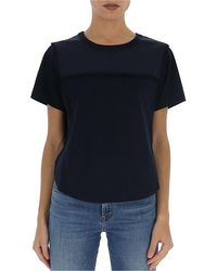 See By Chloé Cropped Scalloped Trim T-shirt - Blue