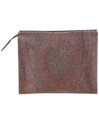 Etro Paisley Print Cosmetic Bag - Brown