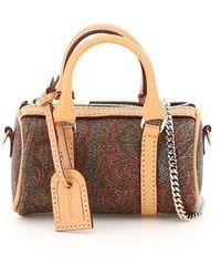 Etro Paisley Micro Bag Os Cotton,leather - Brown