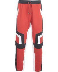Balmain Panelled Drawstring Joggers - Red