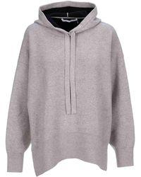 PROENZA SCHOULER WHITE LABEL Drop-shoulder Knit Hoodie - Grey