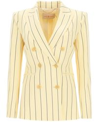 Tory Burch Striped Blazer 2 Cotton - Natural