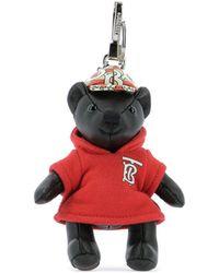 Burberry Black Thomas Bear Monogram Keyring - Red