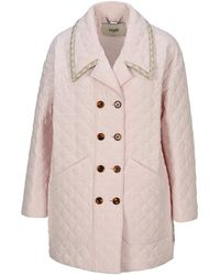 Fendi Double Breasted Quilted Coat - Pink