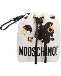 Moschino Cow Printed Bucket Bag - Black