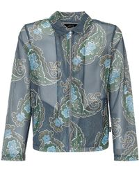 Stussy Paisley Printed Mesh Zip Jacket - Blue