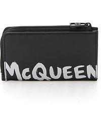 Alexander McQueen Graffiti Logo Zipped Cardholder - Black