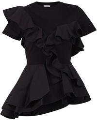 Alexander McQueen Peplum Ruffled T-shirt - Black