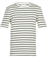 Jil Sander Striped Cotton T-shirt With Logo Label - Green