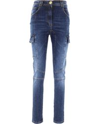 Balmain Embossed Buttons Denim Trousers - Blue