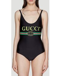 Gucci Logo Sparkling Swimsuit - Black
