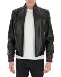 Gucci Web-detailed Leather Jacket - Black