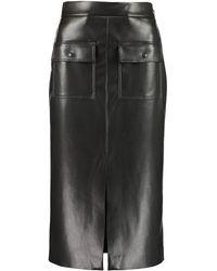 MSGM High-waisted Slit Midi Skirt - Black