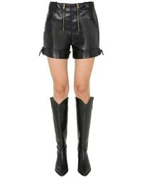 Philosophy Di Lorenzo Serafini Faux Leather Shorts With Zip And Bottom With Resolution - Black