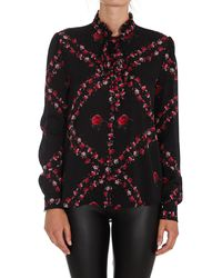 Pinko Floral Printed Bow Detailed Blouse - Black