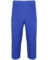 Homme Plissé Issey Miyake Pleated Cropped Trousers - Blue