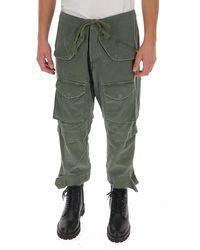 Greg Lauren Drawstring Cargo Trousers - Green