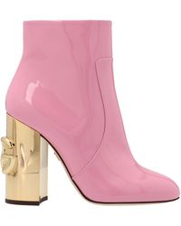 Dolce & Gabbana Dg Almond Toe Ankle Boots - Pink