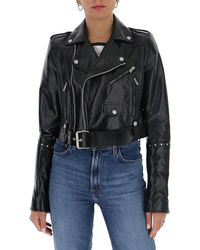 Givenchy Studded Biker Leather Jacket - Black