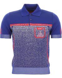 Prada Logo Knit Polo Shirt - Blue
