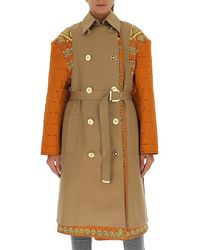 Versace Contrasting Paneled Belted Trench Coat - Multicolor