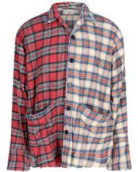 Greg Lauren Box Split Checked Shirt - Multicolour