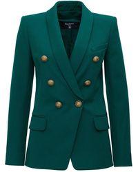 Balmain Wool Double-breasted Blazer - Green