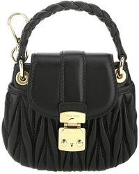 Miu Miu Matelassé Mini Top Handle Bag - Black