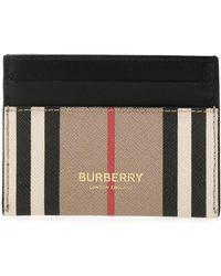 Burberry Sandon Icon Stripe Canvas Card Holder - Black