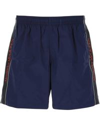 Alexander McQueen Logo Tape Swim Shorts - Blue