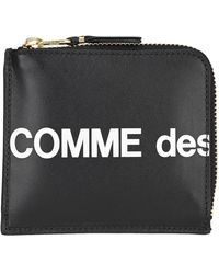Comme des Garçons Comme Des Garçons Wallet Contrasting Zip Around Logo Wallet - Black
